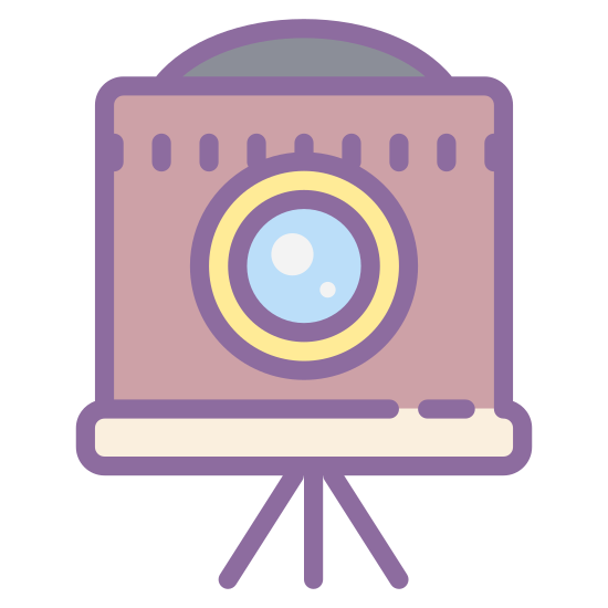 Klasyczna kamera icon. This is a picture of an antique camera that is facing toward you. It has a small stand on bottom with three legs, and a large lens in it's center. There's a tiny curved cover on top, and a larger base that holds the camera.