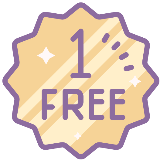 Un gratuit icon. It is representing the idea of one free. It is made like a medal in the shape of a circle with all kinds of design around it. It looks like an award you would get for winning.
