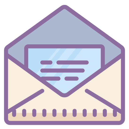 Open Envelope icon. When you have email messages available to read you will see a envelope with the top flap open and inside a piece of paper. This shows that you have messages available in your email inbox.