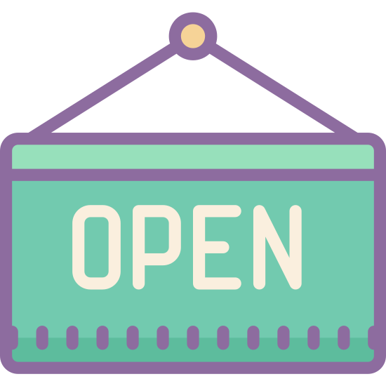 Open Sign icon. There is a rectangle that says the words OPEN on it in the middle. It is attached to a pin. it is hung up by the pin and attached with lines