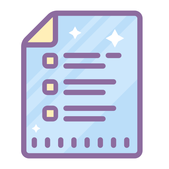 Page icon. This icon is meant to represent a sheet of paper with the top right corner folded over. There are horizontal lines running through the middle of it in various lengths. These are meant to represent the words that are written or typed on the paper.