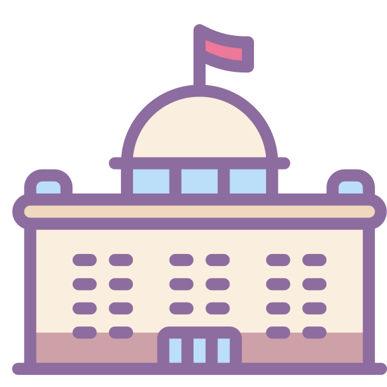 Parlament icon. The icon is a small version of a larger building. The base is a rectangle, with eighteen shaded rectangles inside of it, representing windows. A half circle forms a dome and atop the dome is a small flag.