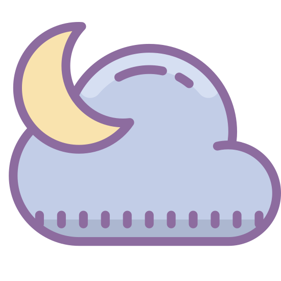 Night icon. This is a logo of a cloud made of three rounded circles. On top of the cloud is part of a gibbous moon. To the left of the moon are two cross shaped stars, one bigger than the other.