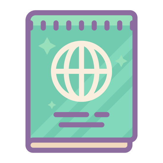 Passport icon. This is a drawing of a passbook that has some sort of a circular icon in the middle that may be representing a globe. Under the globe there is a long black line going from left to right.