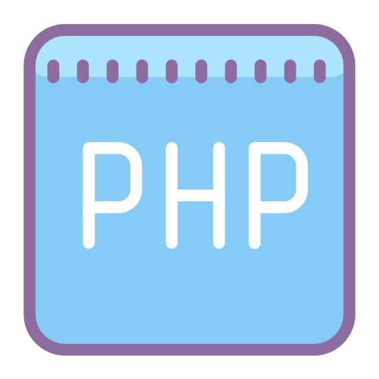 "PHP icon. It's a black unfilled square with slightly rounded corners. The radii of the rounded corners is very small.  In the center of the square there are the letters ""PHP"" in upper case."