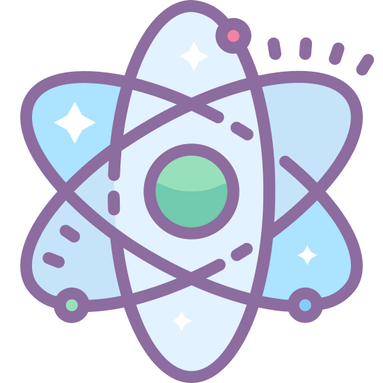 Physics icon. It is an image of stylized atom. There is a small concentric circle in the middle that isn't touched by anything. Three elongated ovals form the outside, one which stands vertically and the other two form an X.