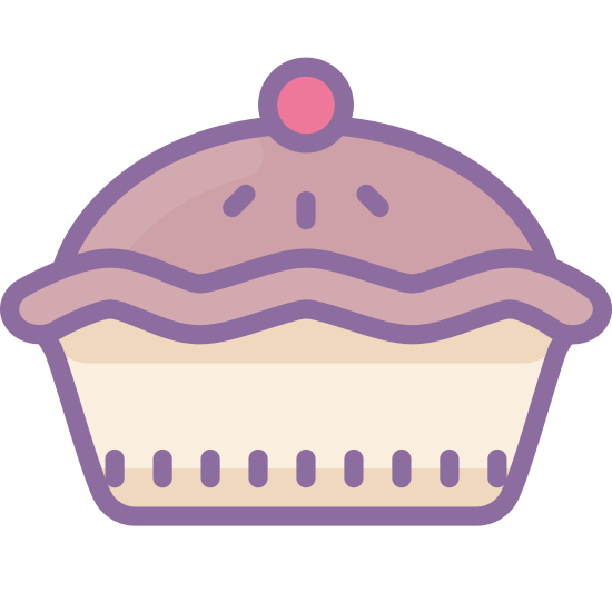 Pie icon. The icon is a pie in the classic sense of American pie. It appears that a crust with three slits in the top is with a round pie pan. You cannot see what is inside the pie as the filling is obscured by the crust.