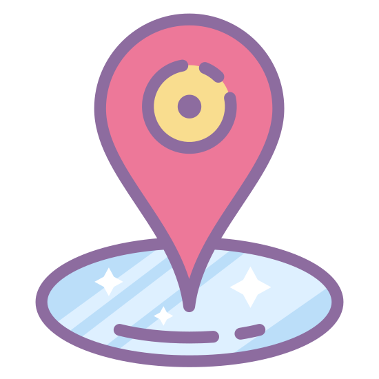 """Place Marker icon. It's a logo for Geo-fence and has a """"C"""" shaped line at the base facing upwards with a pointed circle pointing downwards into the """"C"""". There is a circle in the middle of the pointed circle."""