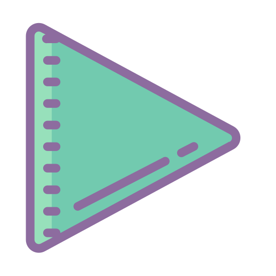 Play icon. This is a picture of the play button that you would see on a DVD player or VCR. It's a triangle that is pointed to the right and is completely by itself.
