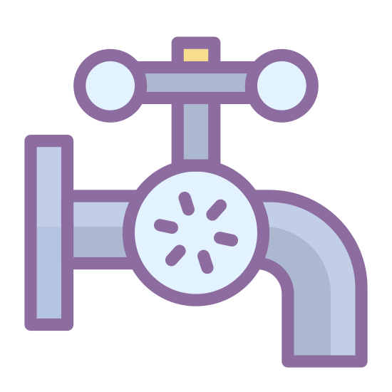 Plumbing icon. The icon is a picture of pipes. There is also what appears to be a faucet on top of the pipe.