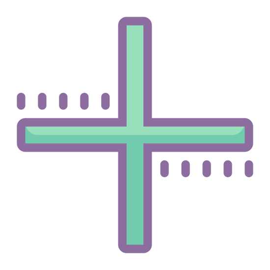 Plus Math icon. This is a very simple icon that is meant to represent the plus sign used in addition. It's made of two lines of exactly the same size crossed over each other so that they run perpendicular. The lines are fairly thick.