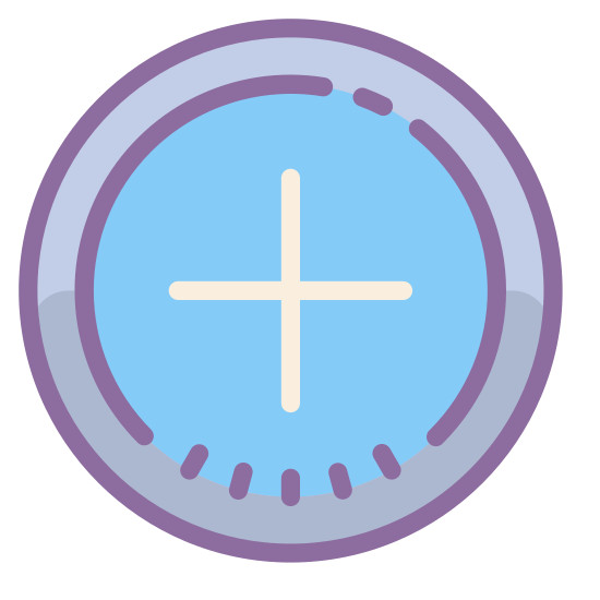 Plus icon. It is a logo with a circle.  Inside of the circle is a plus sign that is directly in the middle.  There are no other shapes or lines that are a part of this icon.