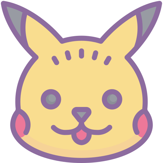 Pokemon icon. This icon for pokemon is an image of Pikachu. Pikachu looks like a cartoon chipmunk. He is standing on two feet, and has large ears, which are pointing in opposite directions. He also has a lightning bolt shaped tail.