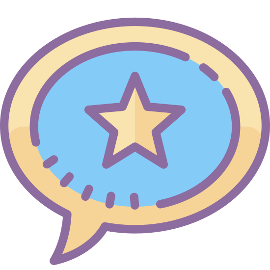 Popularny temat icon. It's a logo to represent something is a popular topic. The logo is a talk bubble with a 5 pointed star in the middle. The talk bubble its self is a circle with a pointed tail at the bottom left side of the bubble.