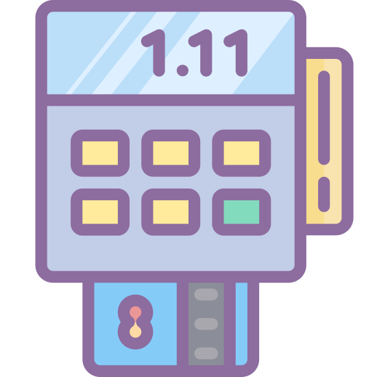 Terminal PDV icon. The icon portrays a credit card machine reader. The machine itself is rectangular with rounded corners and nine buttons. Beneath the machine is a credit card being inserted into the bottom of the reader.