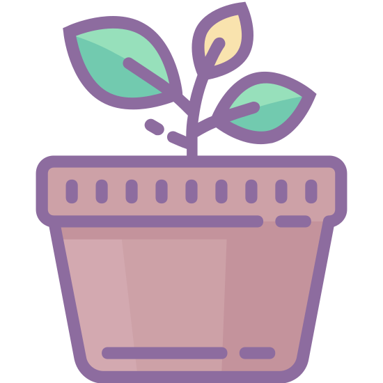 Roślina doniczkowa icon. This is a picture of a potted plant. the plant is growing and has two leaves, one a bit larger than the other. the pot it's in is very plain with a base and rim. the leaves are facing opposite directions (left and right).
