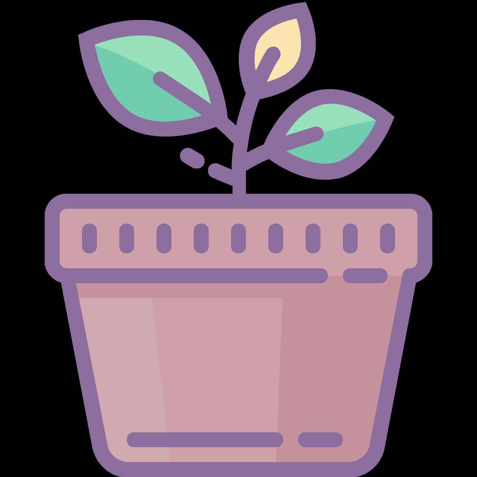 鉢植え icon. This is a picture of a potted plant. the plant is growing and has two leaves, one a bit larger than the other. the pot it's in is very plain with a base and rim. the leaves are facing opposite directions (left and right).