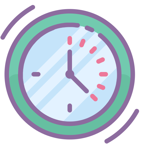 Present icon. There is a circle and inside the circle there are two lines that are connected by a solid, circle (dot). The lines indicate the hands of a clock, with one hand being the minute hand and the other being the hour hand. This icon is showing both hands as 5 o'clock. Outside of the circle are two lines that run near the top and bottom of the circle.