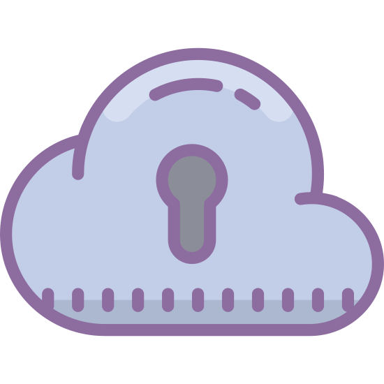Secure Cloud icon. The image is of a cloud. It is flat on the bottom with curves on top to show its fluffy shape. In the center of the cloud there is a keyhole shape, consisting of a bulbous top end with a small narrow extension sticking downward.