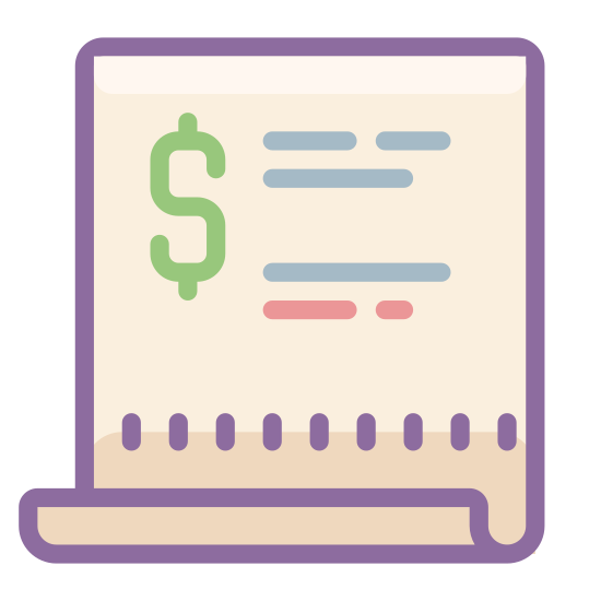 "Purchase Order icon. This logo for ""purchase order"" is a rectangular piece of paper.  There is a solid line across the top of the ""paper,"" to represent the title.  Then there are three rows of solid lines each beginning with a short dash, representing a bulleted, or numbered list."