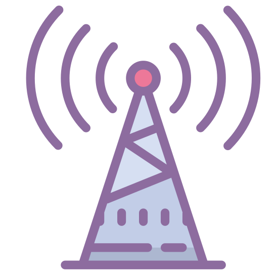 Wieża radiowa icon. This is a triangular shaped icon depicting a radio tower. In the center of the triangle is a zig-zag shape indicating a metal support frame. At the top of the object is a point with radio waves emanating from the point.