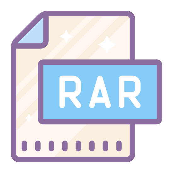 """RAR icon. There is a rectangle with the top right hand corner folded over towards the center.  In the center of the rectangle is a capital letter """"R"""" and a capital letter """"A"""" and another capital letter """"R""""."""