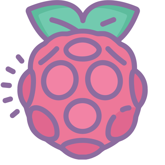 Raspberry Pi icon. This icon represents raspberry pi. It is an oval shape with tiny raised circles all over it. It has two triangle shapes that join together on top with lines in them to represent leaves.