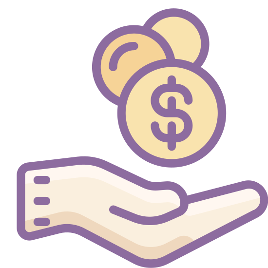 Receive Cash icon. The image is the right hand of a person. It is being held out in a cupped shape. There are two coins above the palm of the hand. The coins are different sizes but they both have a number one on them.
