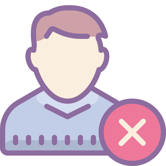 Denied icon. It is an icon of remove user male. This logo is a minus sign that's covering part of the man's shoulder. The man is pictured facing forward with a circle with a minus sign that is placed on his left shoulder.