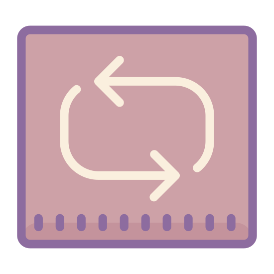 Repeat icon. The icon shows a square shaped loop that is made up of two arrows moving in a counter clockwise direction. This would represent a repeating of a cycle or the current operation.