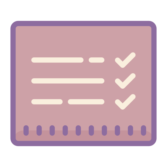Report Card icon. There is a small piece of paper with three horizontal lines on it and next to each line is a single check mark. The paper seems to resemble a checklist of sorts.