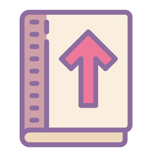 Return Book icon. The icon is shaped like a square with a rounded top left corner and two pointed corners located at the top and bottom right. The bottom left corner curves off to form a long oval shapes that runs the whole bottom of the square but doesn't close on the right side.