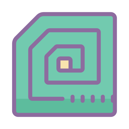 RFID Tag icon. It looks like the outline of a computer chip of some sort. It is mostly square, but on the left corner it's straight. There are then lines going around the inside that meet at a smaller square in the middle.