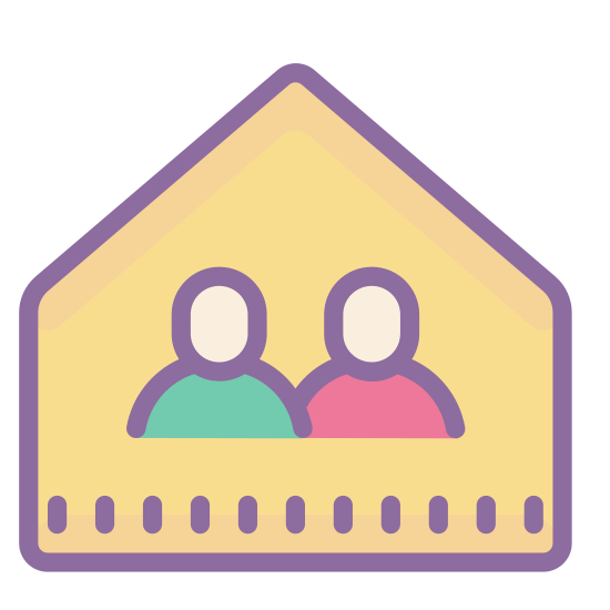 Room icon. A room with two walls cut away so that we can peer into it. Facing directly into a corner, we see the door on one all, and the window on the wall adjacent to the right. It's a small, square room, with nothing inside.