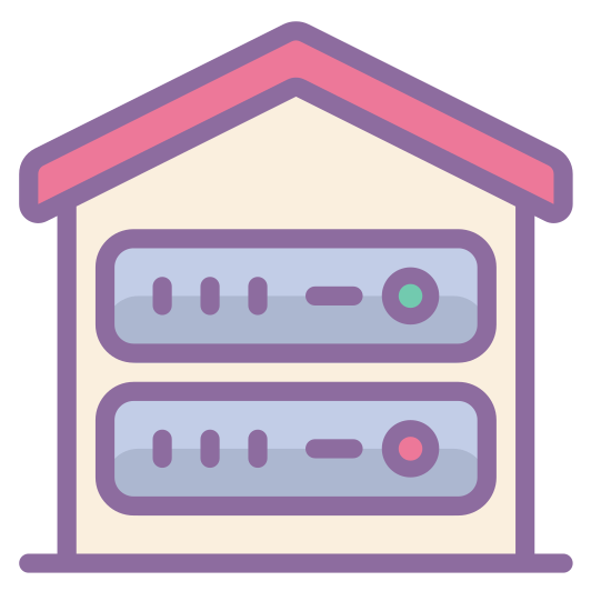 Root Server icon. It is a house shaped object with a roof on the top. At the base there are 2 rectangles like drawers that have a big black dot on the far left side. It looks like a combination of a house and a file cabinet.