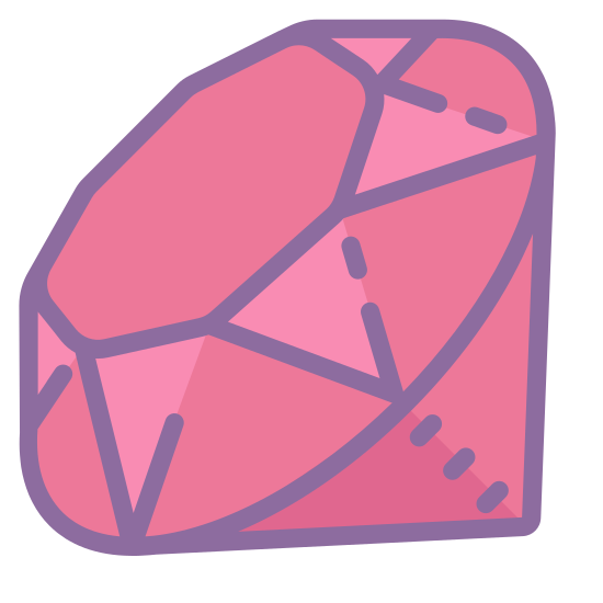 Langage de programmation Ruby icon. The icon had a octagon shape at the center of it and is surrounded by various triangle shapes both upside down and right side up. Under the triangles at the very bottom are to upside down right angle triangles. Together they all form a gem-like shape.