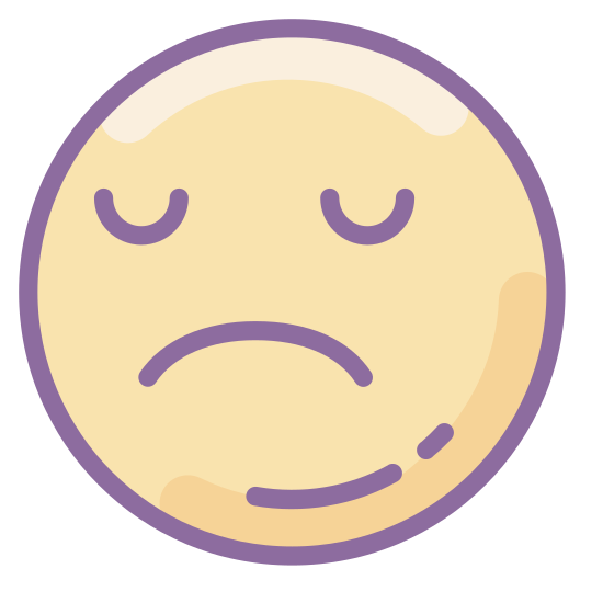 Sad icon. This is a picture of a face that is frowning. It looks very sad. It doesn't have nose, just two small black eyes and a frown. It is a simple circle, not really a person who you could recognize.
