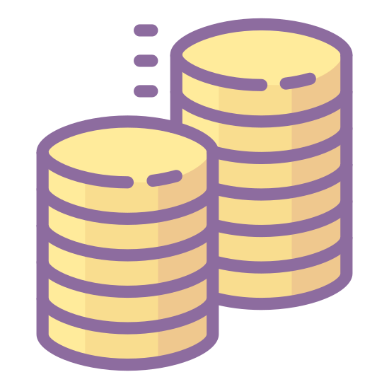 Sales Performance icon. This icon shows three stacks of coins. There are 6 coins in the first stack, 4 coins in the second, and 9 coins in the third. All of the coins are round and give the impression of measuring performance.