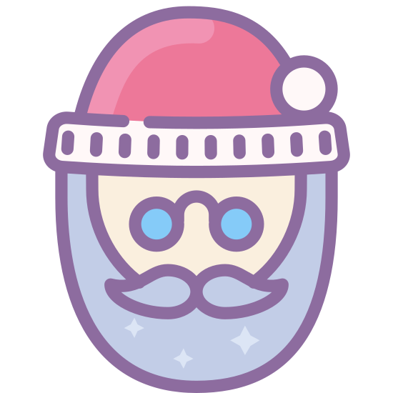 Santa icon. This particular icon features a curvy shape that resembles a face with a beard. It has two black dots that look like eyes. It has a shape on top that looks like a santa hat.