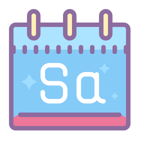 Saturday icon. The image is a square with two little tabs at the top. It looks like the page of a calendar. There are two letters on the image. In the center of the large square part is a the capital letter S and the lowercase letter a.
