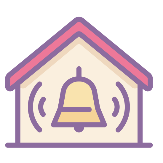 Home Alarm icon. It is a icon for Secured by Alarm System. This icon contains a bell with two lines on each side signaling its ringing. The ringing bell is inside a hollow house shape.