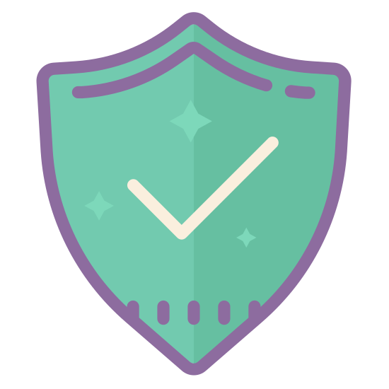 Segurança verificada icon. The universal icon for Windows Defender, security checked. The shape of an old medieval shield, a point at the bottom, curving outward and upward on either side, then making and angle and curving back toward the point at the top. There's a check mark in the middle.