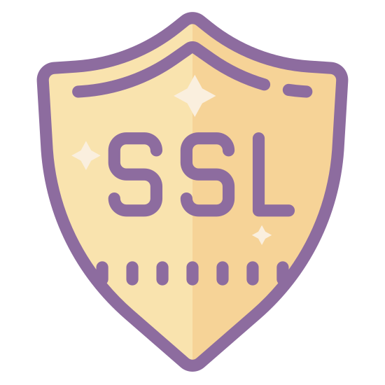 SSL安全 icon. It is an emblem or a shield with the letters SSL inside of it right in the middle of the shield. There are four total points on the shield, one at the bottom, two on the top left and top right corner and then one rounded point slightly above the two corners.