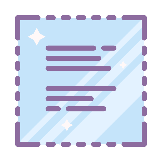 Select All icon. This image depicts a textual document that is relatively filled with writing. The entire square is bordered by a dotted line. It appears to contain the entirety of the document, as opposed to just the lines that are currently visible.