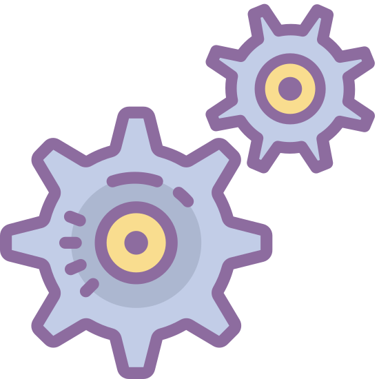 Usługi icon. In this icon there are two cogs aligned diagonally with each other.  The teeth of the gears do not intermesh, but it looks as if they could be brought to that state.