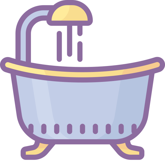 Bathtub icon. This icon is a picture of a shower and tub. The water is on and it is flowing in the tub. The shower head is shown that reveals that the water is on because water appears to be coming in the tub.
