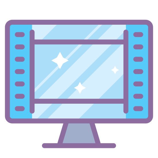 Showing Video Frames icon. This icon is depicting a film slide resting on a stand. The object is rectangular with four sharp edges. Within the rectangle are two sets of four squares on either side of it.