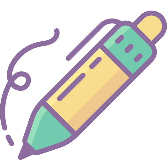 Zapisz się icon. There is a squiggly line heading downwards, and where it ends there is a pencil going diagonal, giving the idea it's just being drawn. There isn't much detail to the pencil, only a dark tip and an eraser on the end.