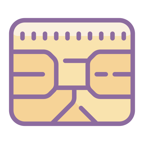 Chip karty SIM icon. This icon represents a sim card chip. It is a small rectangle shape with rounded corners. The inside of the rectangle has many different designs with rounded and straight edges with two hook designs at the top corners.