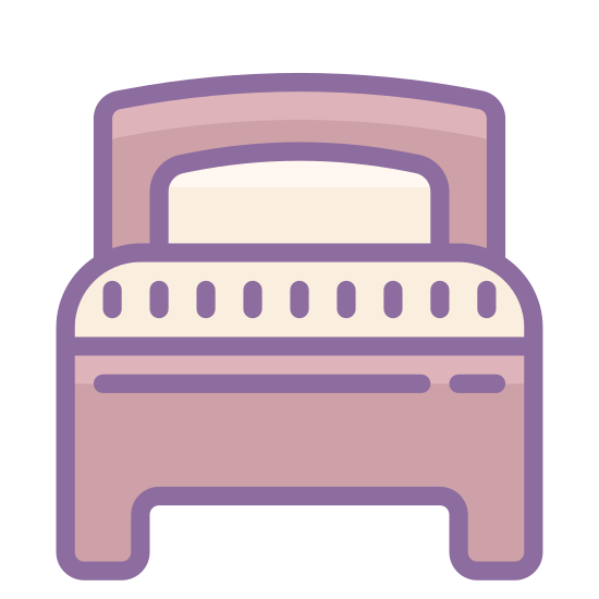 Lit simple icon. The icon Single Bed is two rectangles sitting on top of each other. The top rectangle has a half moon cut out of the top of it. The bottom rectangle a half of a small rectangle cut out of the bottom of it.
